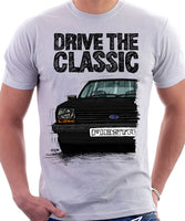 Drive The Classic Ford Fiesta Mk1 Big Bumper. T-shirt in White Colour