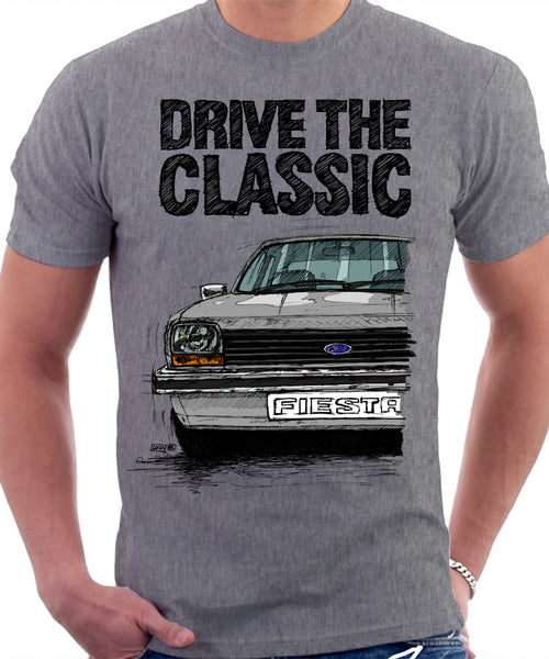 Drive The Classic Ford Fiesta Mk1 Small Bumper. T-shirt in Heather Grey Colour