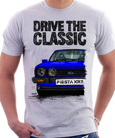 Drive The Classic Ford Fiesta Mk1 XR2. T-shirt in White Colour