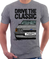 Drive The Classic Ford Fiesta Mk2 Standard Model. T-shirt in Heather Grey Colour