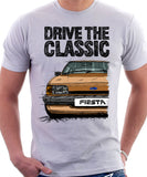 Drive The Classic Ford Fiesta Mk2 Standard Model . T-shirt in White Colour