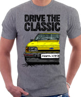 Drive The Classic Ford Fiesta Mk2 XR2. T-shirt in Heather Grey Colour