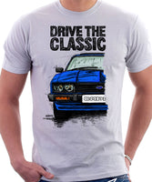 Drive The Classic Ford Capri Mk3 Black Grille T-shirt in White Colour