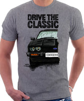 Drive The Classic Ford Capri Mk3 Colour Grille T-shirt in Heather Grey Colour