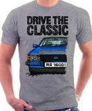 Drive The Classic Ford Escort MK3 RS 1600i. T-shirt in Heather Grey Colour