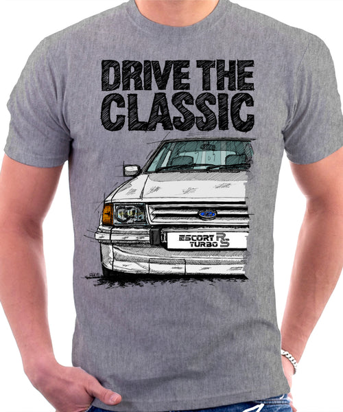 Drive The Classic Ford Escort MK3 RS Turbo. T-shirt in Heather Grey Colour
