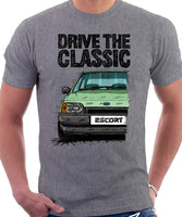 Drive The Classic Ford Escort Mk4 Ghia (Bumper Version 1). T-shirt in Heather Grey Colour