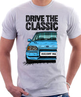 Drive The Classic Ford Escort Mk4 RS Turbo (Bumper Version 2). T-shirt in White Colour
