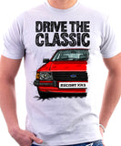 Drive The Classic Ford Escort MK3 XR3. T-shirt in White Colour