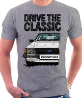 Drive The Classic Ford Escort MK3 XR3. T-shirt in Heather Grey Colour