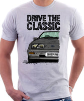 Drive The Classic Ford Sierra MK1. T-shirt in White Colour