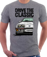 Drive The Classic Ford Sierra MK1 XR4i. T-shirt in Heather Grey Colour