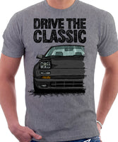 Drive The Classic Mazda RX7 Mk2 Early Model. T-shirt in Heather Grey Colour