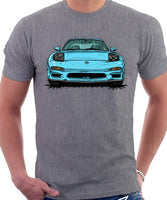Mazda RX7 FD Early Model Lights Open. T-shirt in Heather Grey Color