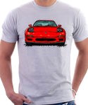 Mazda RX7 FD Early Model Lights Open. T-shirt in White Color