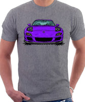 Mazda RX7 FD Late Model Lights Open. T-shirt in Heather Grey Color