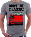 Drive The Classic Mazda RX7 Mk2 Turbo Late Model. T-shirt in Heather Grey Colour