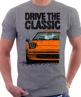 Drive The Classic Mazda RX7 Mk1  Early Model. T-shirt in Heather Grey Colour