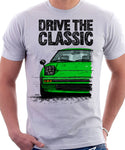 Drive The Classic Mazda RX7 Mk1  Early Model. T-shirt in White Colour
