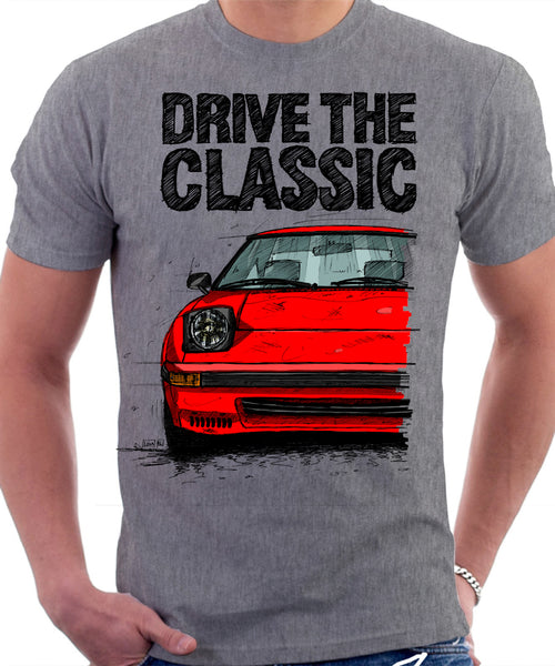 Drive The Classic Mazda RX7 Mk1  Late Model. T-shirt in Heather Grey Colour
