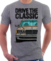 Drive The Classic Mercedes W126 Prefacelift Grey Bumpers T-shirt in Heather Grey Colour