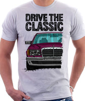 Drive The Classic Mercedes W126  Prefacelift Grey Bumpers T-shirt in White Colour