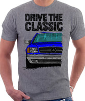 Drive The Classic Mercedes W126 SEC Facelift Grey Bumpers T-shirt in Heather Grey Colour