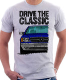 Drive The Classic Mercedes W126 SEC Facelift Grey Bumpers T-shirt in White Colour