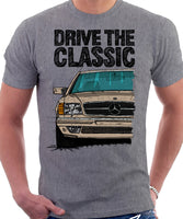 Drive The Classic Mercedes W126 SEC Prefacelift T-shirt in Heather Grey Colour