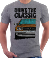 Drive The Classic Mercedes W126 SEC Prefacelift Grey Bumpers T-shirt in Heather Grey Colour