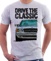Drive The Classic Mercedes W126 SEC Prefacelift Grey Bumpers T-shirt in White Colour