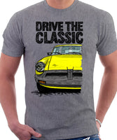 Drive The Classic MGB Rubber Bumper. T-shirt in Heather Grey Colour