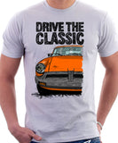 Drive The Classic MGB Rubber Bumper. T-shirt in White Colour