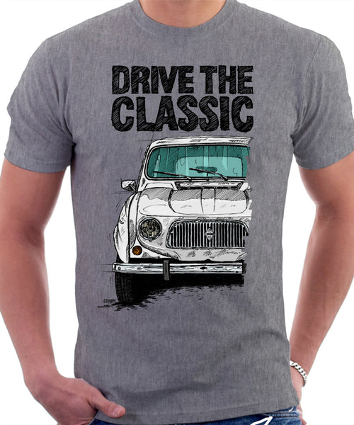 Drive The Classic Renault 4 1961 Model. T-shirt in Heather Grey Colour