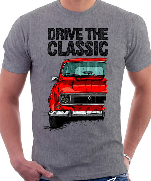 Drive The Classic Renault 4 1974 Model. T-shirt in Heather Grey Colour