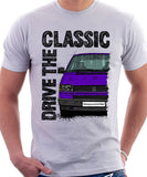 Drive The Classic VW Transporter T4 Early Model Black Bumper . T-shirt in White Colour