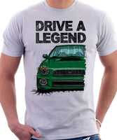 Drive The Legend Subaru Impreza Bugeye WRX. T-shirt in White Colour