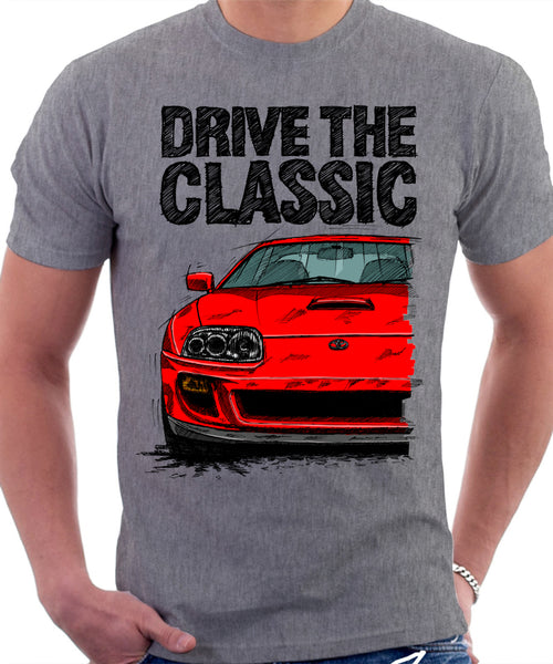 Drive The Classic Toyota Supra Mk4 Turbo Europe. T-shirt in Heather Grey Colour