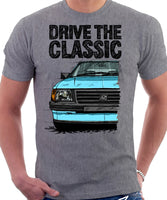 Drive The Classic Vauxhall Nova Early Model. T-shirt in Heather Grey Colour