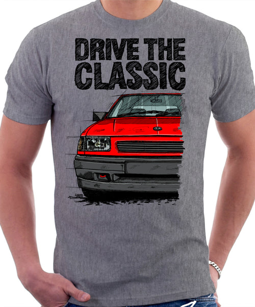 Drive The Classic Vauxhall Nova Late Model. T-shirt in Heather Grey Colour