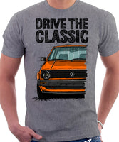 Drive The Classic VW Golf Mk2 Early Model. T-shirt in Heather Grey Colour