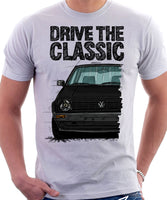 Drive The Classic VW Golf Mk2 Early Model. T-shirt in White Colour