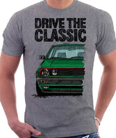 Drive The Classic VW Golf Mk2 GTI Late Model. T-shirt in Heather Grey Colour