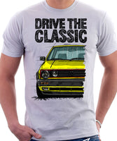 Drive The Classic VW Golf Mk2 GTI Late Model. T-shirt in White Colour