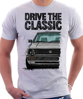 Drive The Classic VW Golf Mk2 Late Model. T-shirt in White Colour