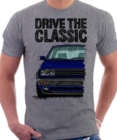Drive The Classic VW Golf Mk2 Rallye. T-shirt in Heather Grey Colour