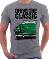 Drive The Classic VW Karmann Ghia Erly Model. T-shirt in Heather Grey Colour