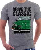 Drive The Classic VW Karmann Ghia Late Model. T-shirt in Heather Grey Colour