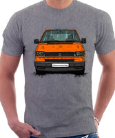 VW Transporter T4 Late Model Black Bumper . T-shirt in Heather Grey Colour