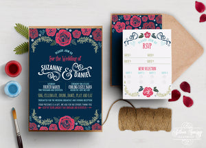 A6 Blue and Berry Mist Themed Invitation Set